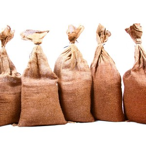 10 Filled Hessian Sandbags