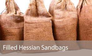 Filled Hessian Sandbags