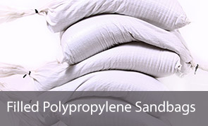 Filled White Polypropylene Sandbags